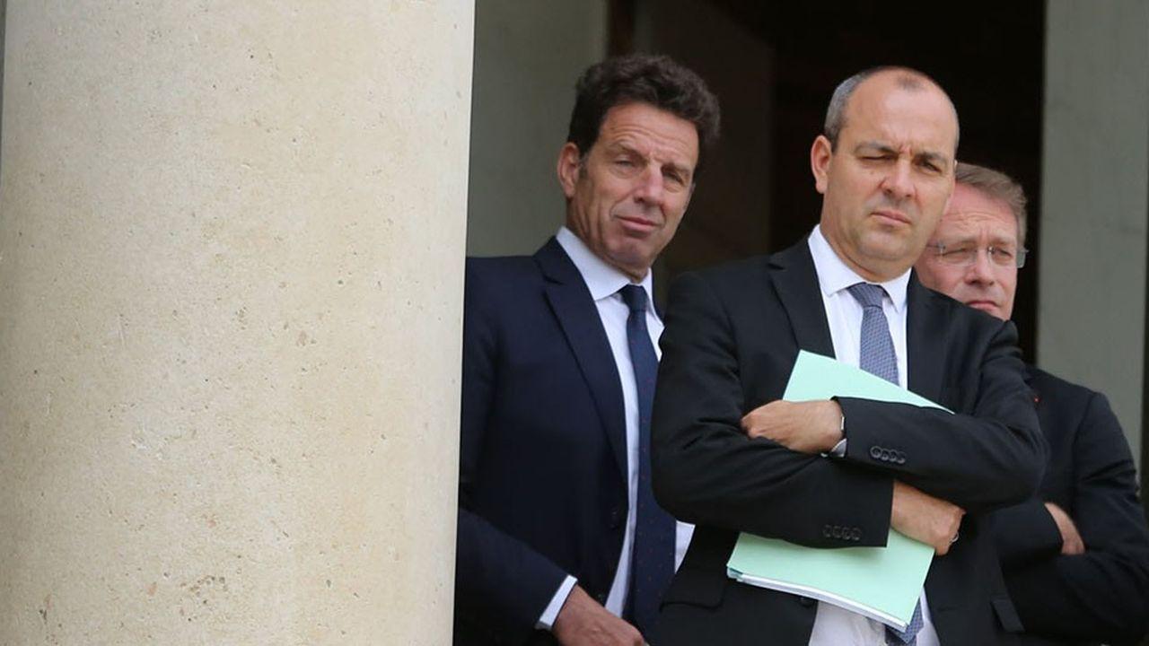 Le président du Medef, Geoffroy Roux de Bézieux, le secrétaire général de la CFDT, Laurent Berger, et le président de la CPME, Francois Asselin.