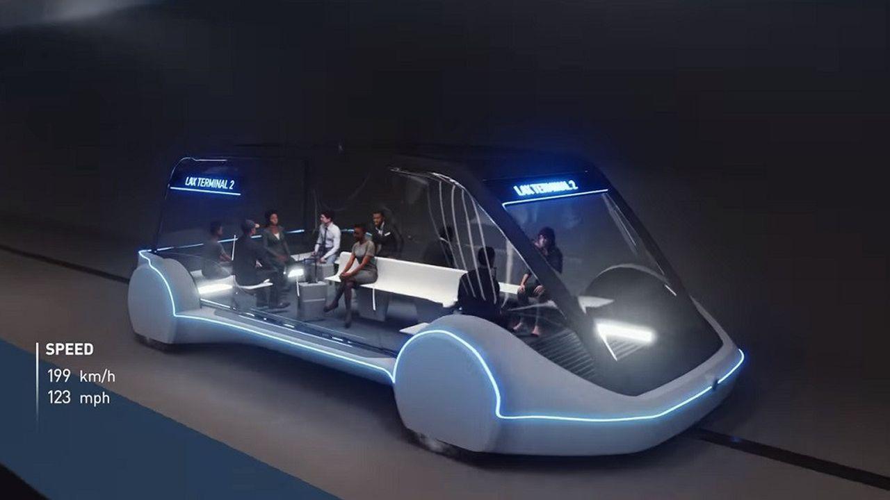 Visuel montrant ce à quoi pourraient ressembler les navettes dans le tunnel de la Boring Company