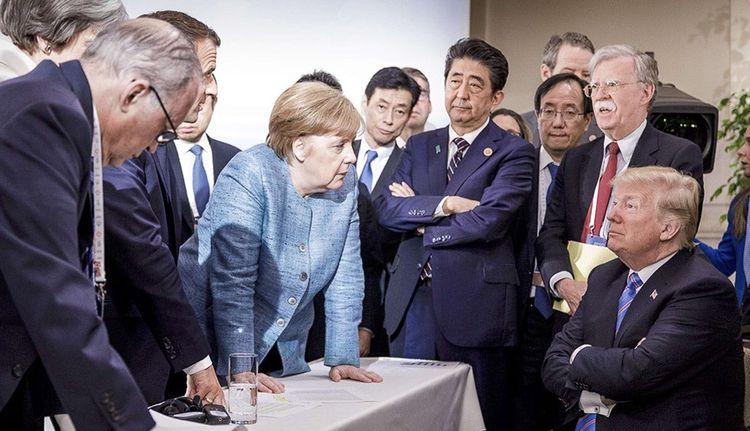 Le président américain face à Angela Merkel, Shinzo Abe, Emmanuel Macron et Theresa May