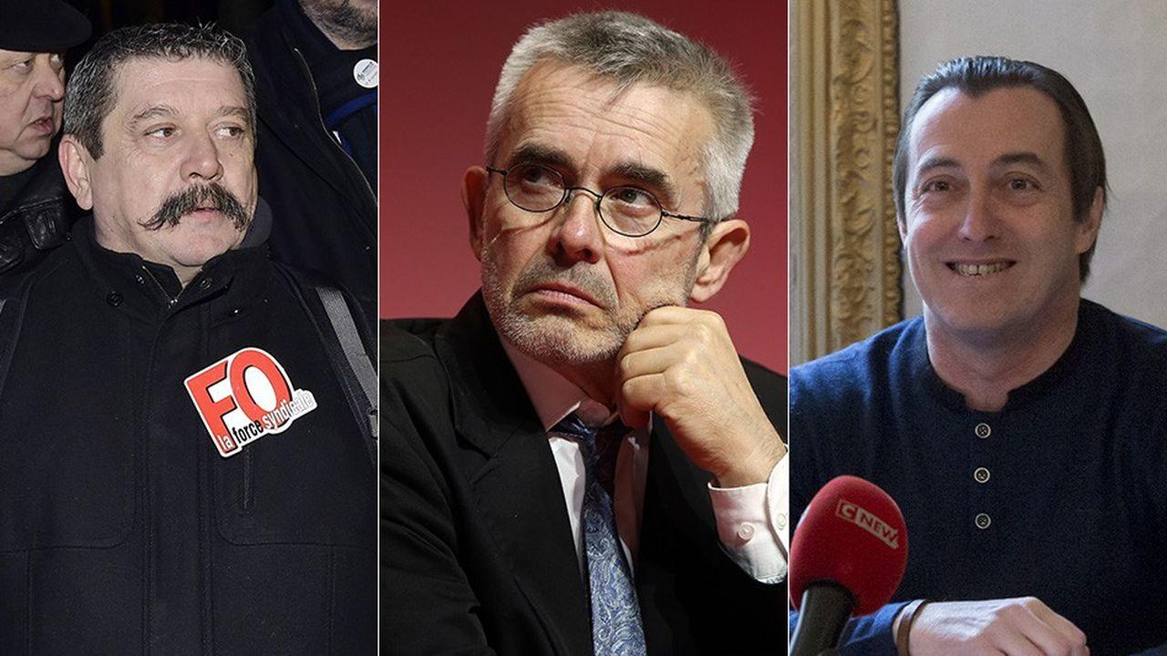 Les trois candidats au poste de numéro un de FO sont, de gauche à droite, Patrice Clos, Yves Veyrier et Christian Grolier.