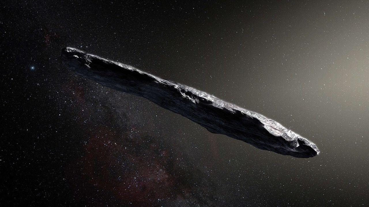 Vue d'artiste de l'astéroïde interstellaire Oumuamua, de 400 mètres de long, détecté pour la première fois en octobre2017.