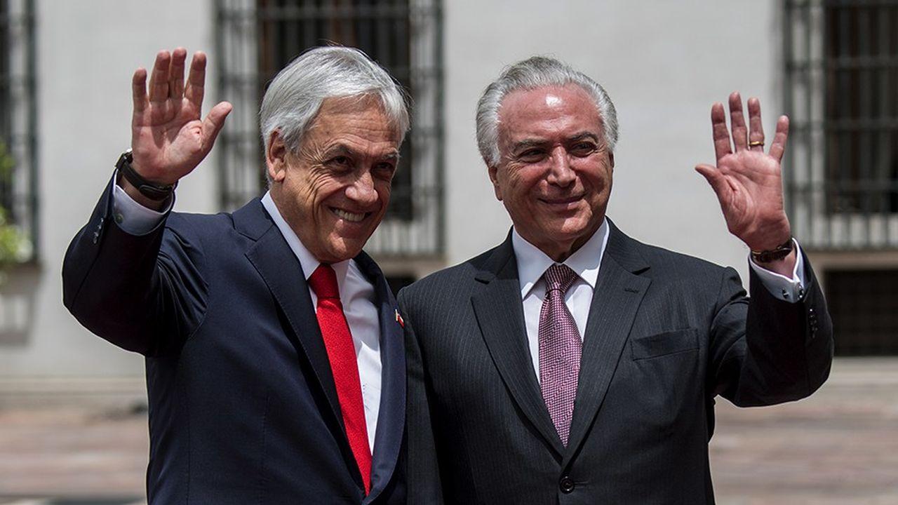 Le président du Chili Sebastian Pinera et le président sortant Michel Temer à Santiago.