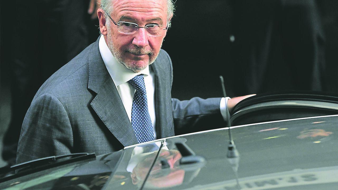 L'ancien directeur du FMI (2004- 2007), Rodrigo Rato, qui était président de Bankia risque cinq ans de prison, poursuivi pour falsification de bilan comptable et escroquerie au préjudice des investisseurs. (Photo by DANI POZO / AFP)