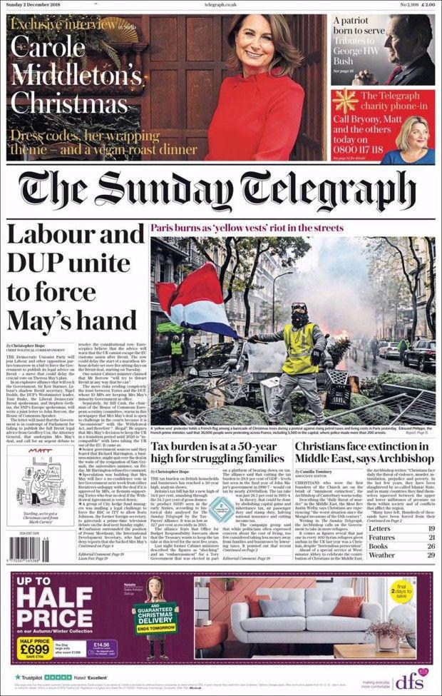 «Paris brûle lors des émeutes des gilets jaunes» en Une du «Sunday Telegraph» (Royaume Uni).