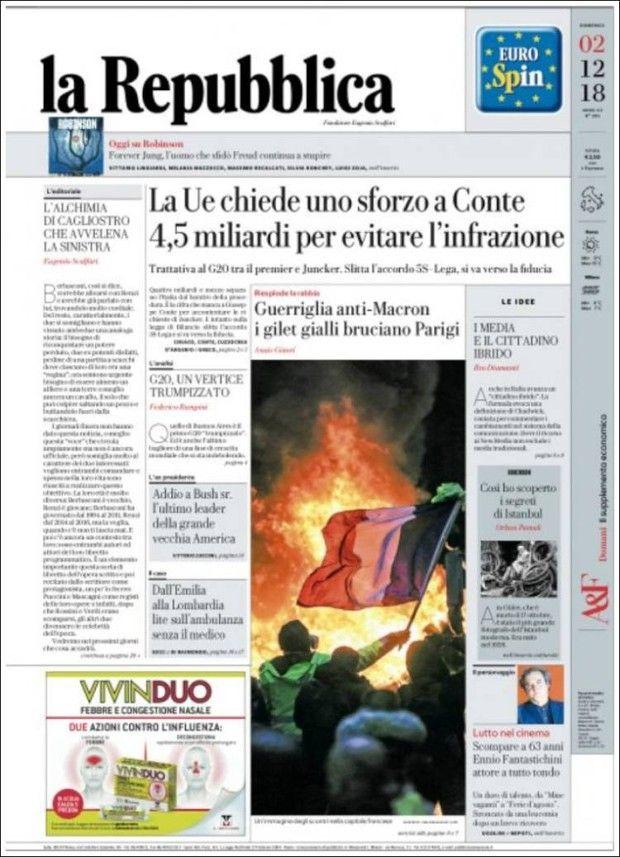 «La guérilla anti-Macron des gilets jaunes brûle Paris» à la Une de «La Repubblica» (Italie).