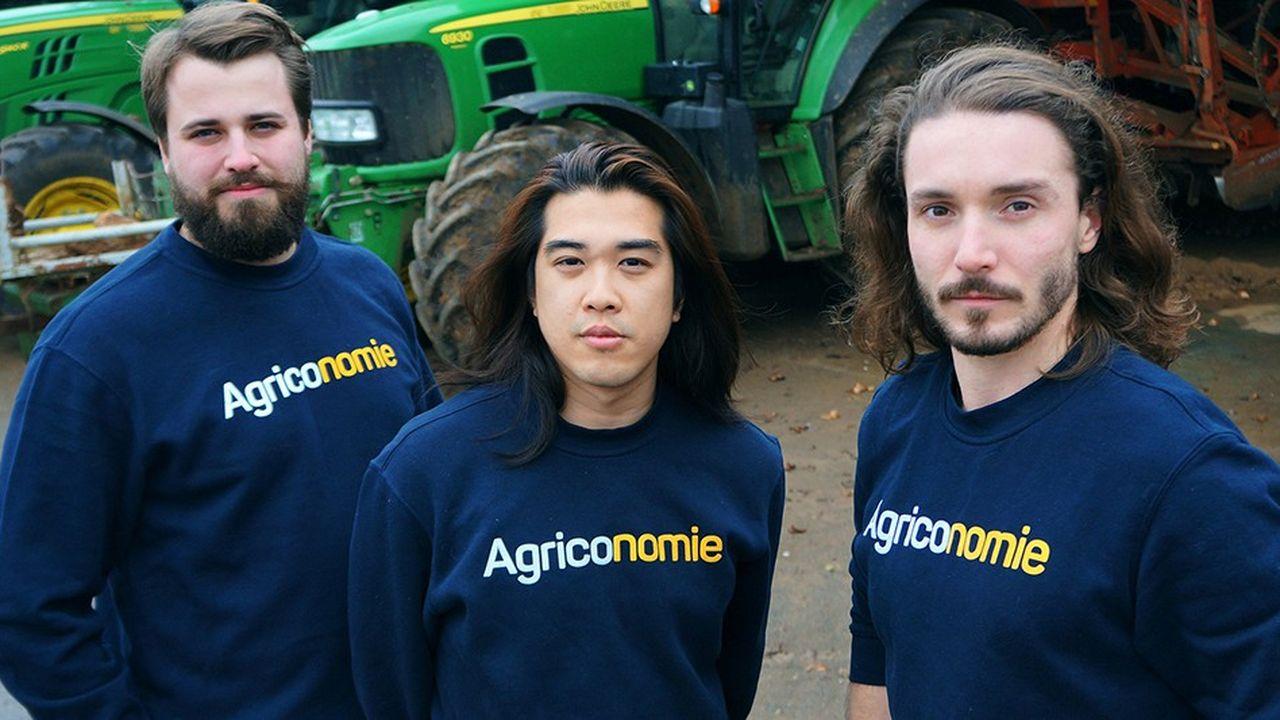 De gauche à droite: Clément Le Fournis, Dinh Nguyen et Paolin Pascot, les fondateurs d'Agriconomie.