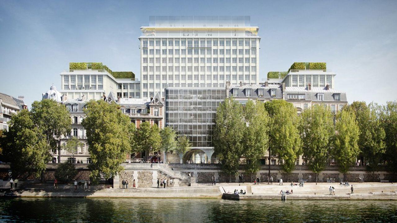L'ancien siège de la Préfecture de Paris, boulevard Morland dans le marais à Paris, est en cours de transformation en un immeuble où devraient cohabiter 11 usages.