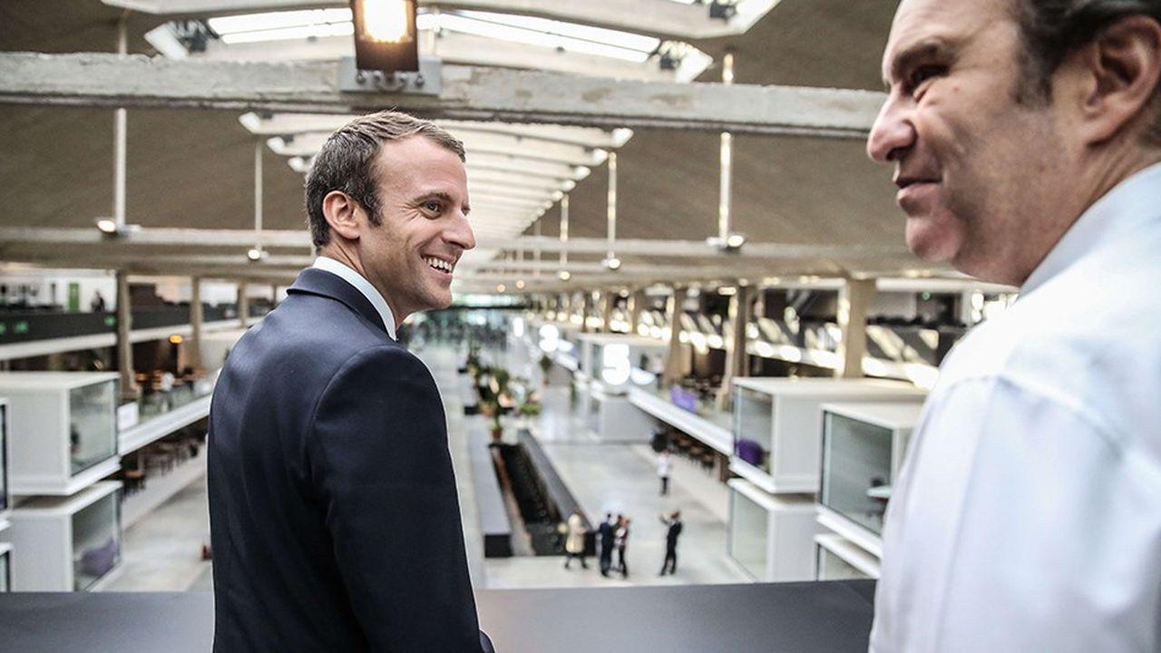 Emmanuel Macron et Xavier Niel lors de l'inauguration de Station F à Paris en juin2017