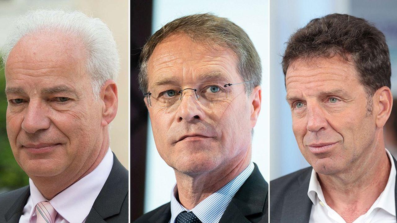 Alain Griset (U2P), François Asselin (CPME) et Geoffroy Roux de Bézieux (Medef)