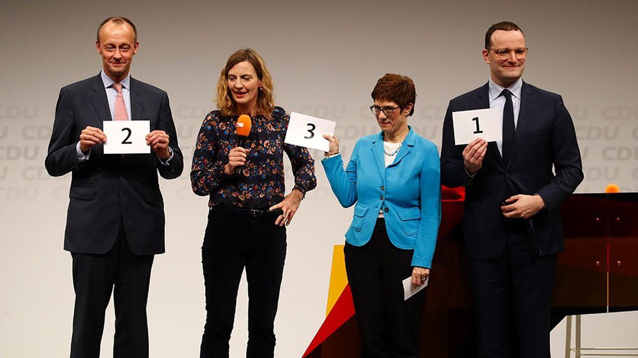 Friedrich Merz, Annegret Kramp-Karrenbauer et Jens Spahn ont défendu leur candidature à la présidence de la CDU au cours de huit conférences régionales qui ont attiré en novembre près de 15.000 membres du parti conservateur.