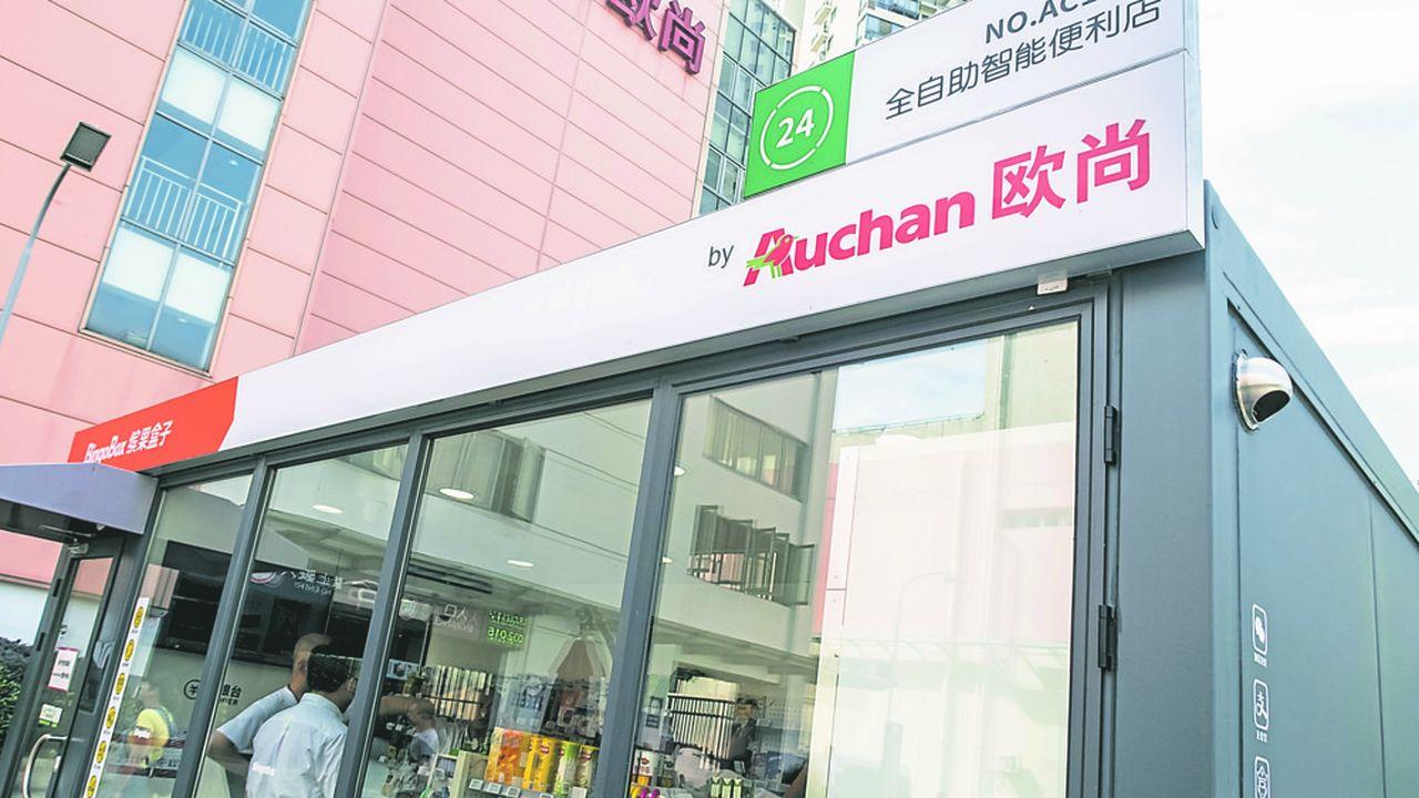 Pour accélérer sa mutation technologique, Auchan s'est allié il y a un an au géant Alibaba. Ici, un Auchan Minute dans le quartier de Yangpu à Shanghai, un city market sans caisssier (on paie via WeChat ou Alipay) et ouvert 24h sur 24h