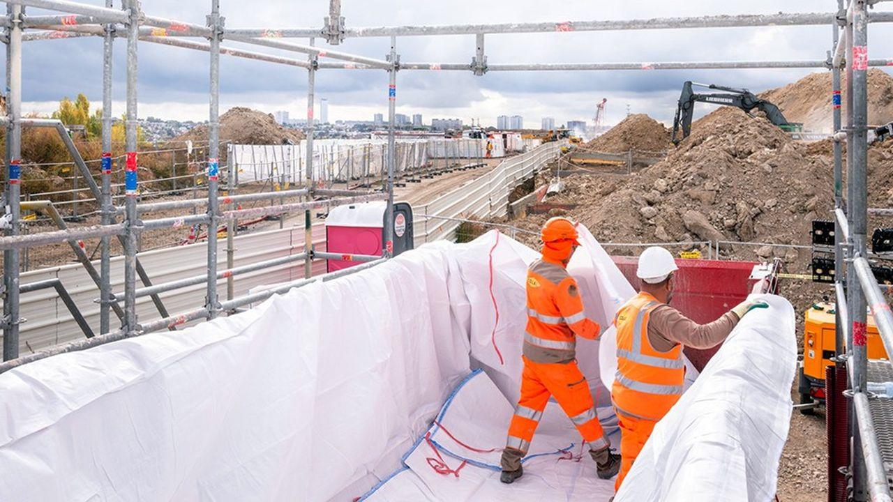 Chantier de terrassement et de désamiantage sur la Zac Marne-Europe en octobre 2018