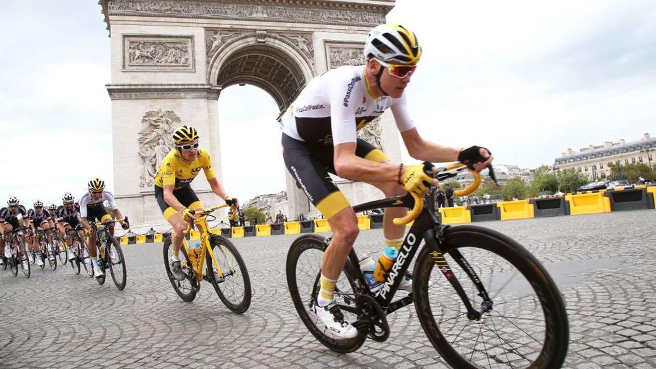 Chris Froome (en blanc) et Geraint Thomas (en jaune) sont les deux derniers vainqueurs du Tour de France.