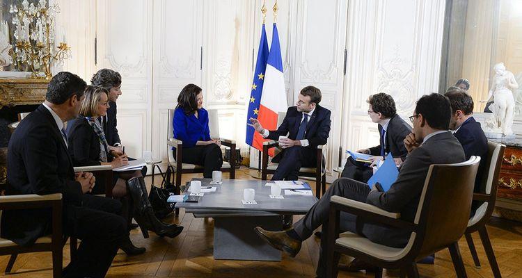 Sheryl Sandberg, directrice des operations (COO) de Facebook, rencontre avec Emmanuel Macron, President de la Republique lors du Sommet 'Choose France!' a Versailles