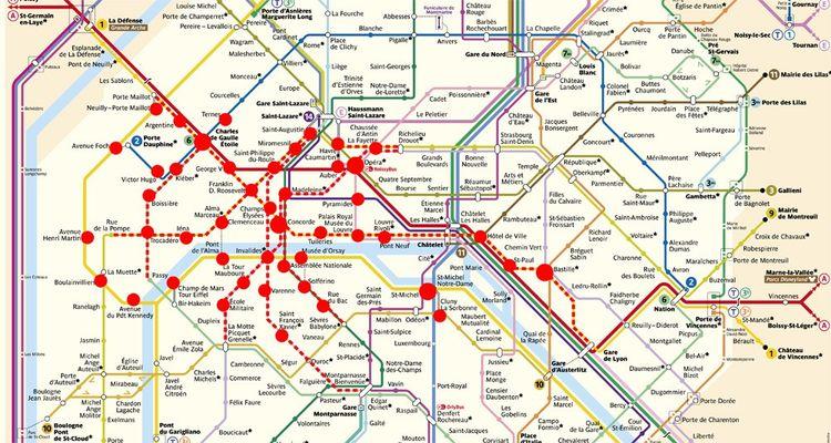 La carte des stations de métros fermées.