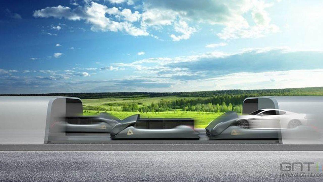 Arrivoavait conçu un système de navettes autonomes porte-voitures propulsées à grande vitesse par lévitation magnétique