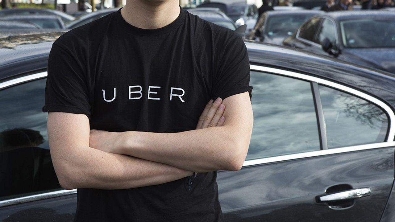 Lors d'une manifestation de chauffeurs Uber, le 9février 2016, place de la Nation, à Paris.