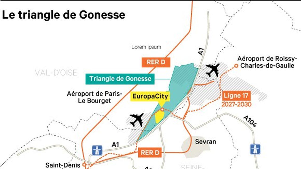 Développé sur 79 des 299 hectares de la ZAC du Triangle de Gonesse, sur un territoire déshérité du Val-d'Oise, EuropaCity doit associer espaces verts, ferme urbaine, hôtels, culture, loisirs, bureaux et commerces.