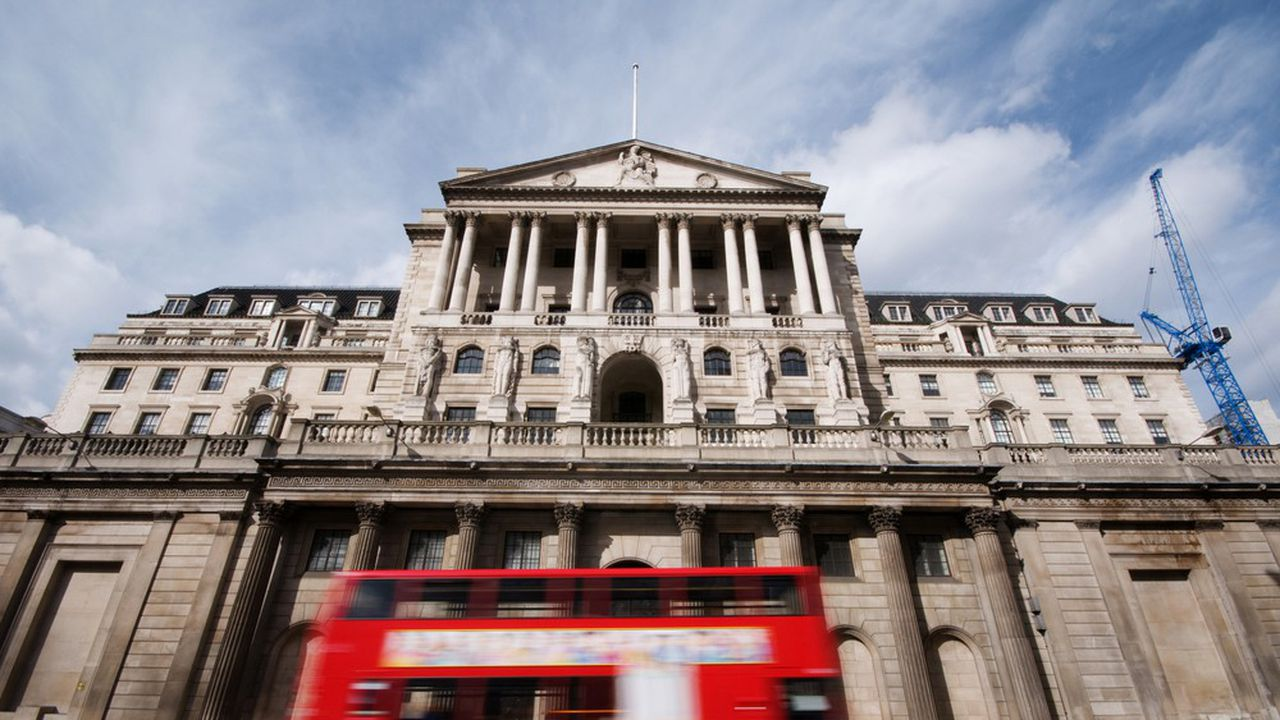 Le siège de la Banque d'Angleterre, Threadneedle Street, en plein coeur de la City de Londres.