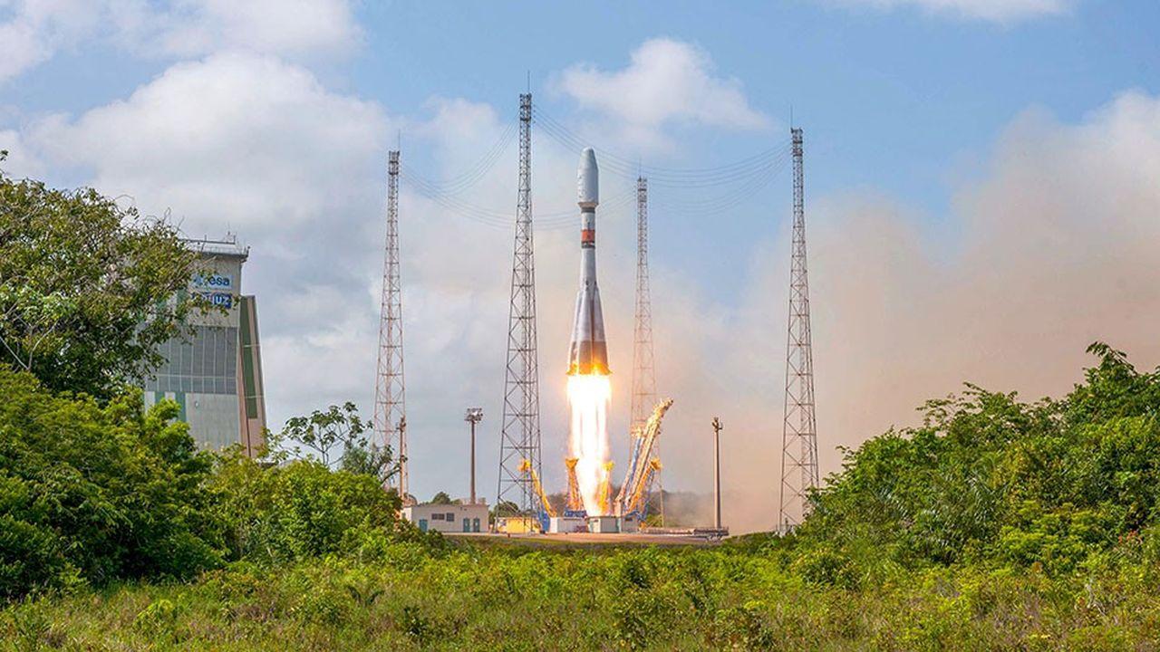 Decollage du lanceur Soyouz VS 20 le 19 decembre 2018 depuis le Centre Spatial Guyanais.Le lanceur a place en orbite le satellite CSO-1, satellite d'observation a usage de defense et de securite dont Airbus avait la maîtrise d'oeuvre, pour le compte du Ministere des Armees.