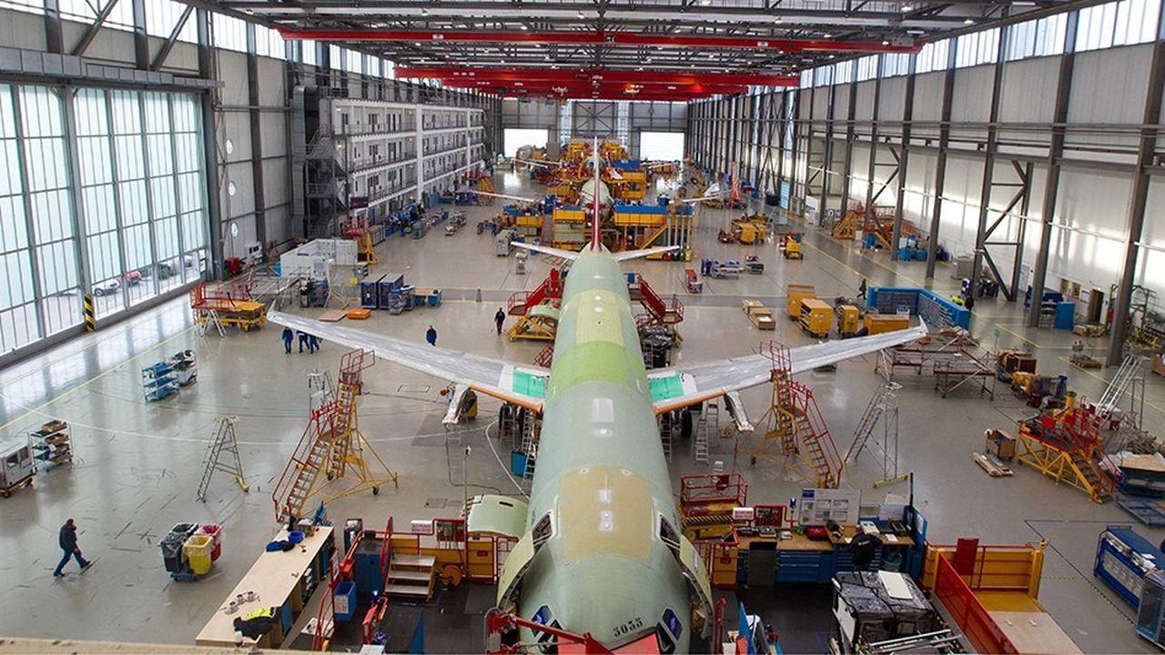 Ligne d'assemblage d'A320 - le best-seller d'Airbus - à Hambourg.