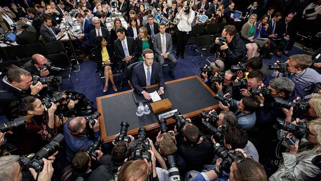 Mark Zuckerberg, le patron de Facebook, devant le congrès américain en avril2018.