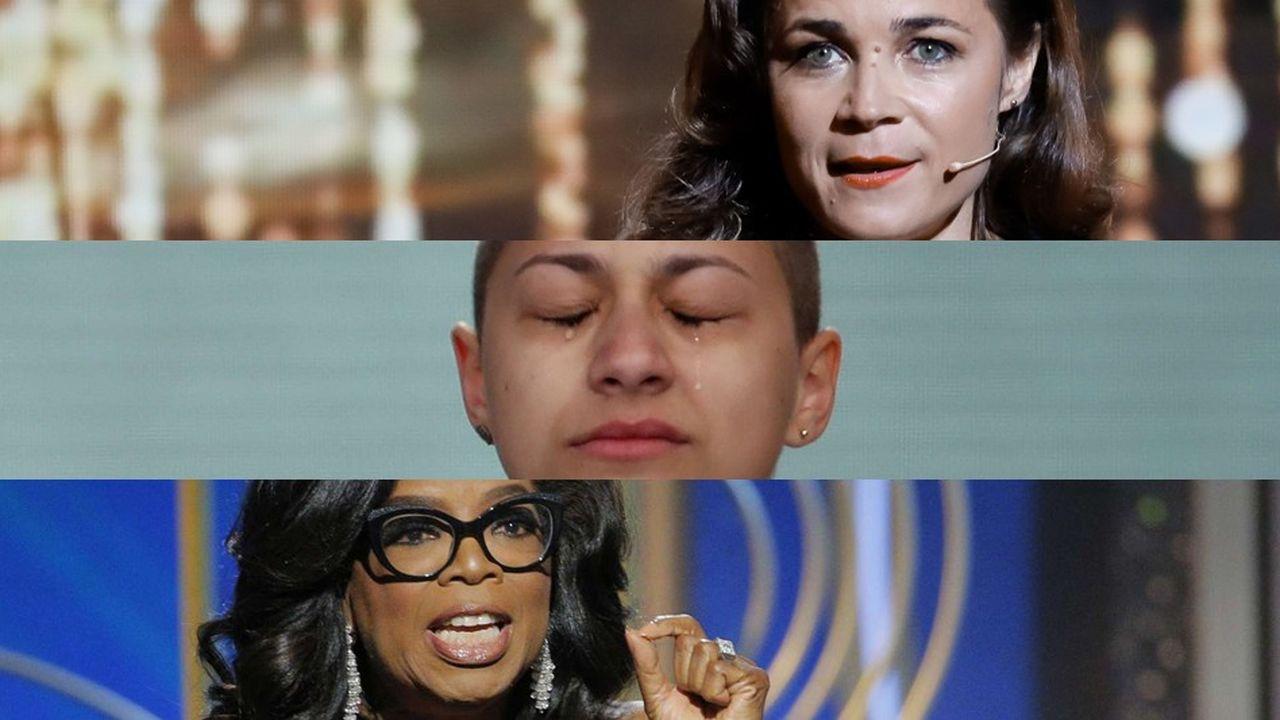 De haut en bas: Blanche Gardin, Emma Gonzalez et Oprah Winfrey.
