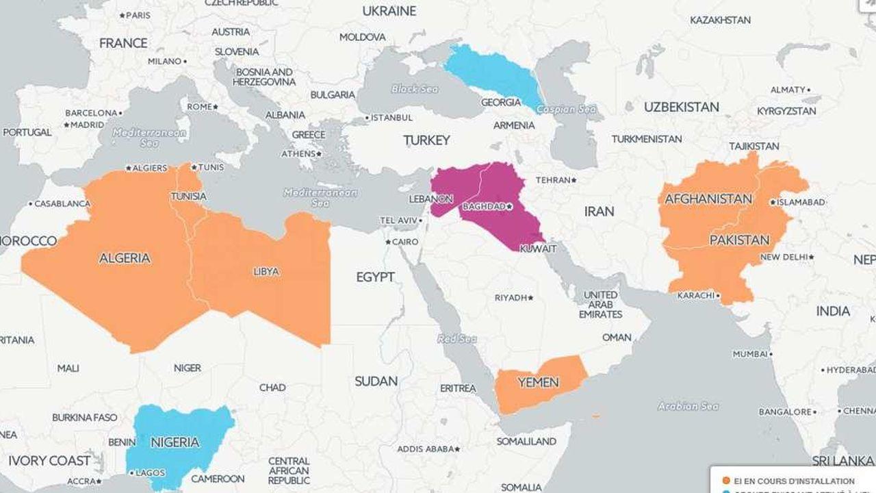syrie carte du monde Carte : de la Syrie au Nigeria, la nébuleuse de l'organisation