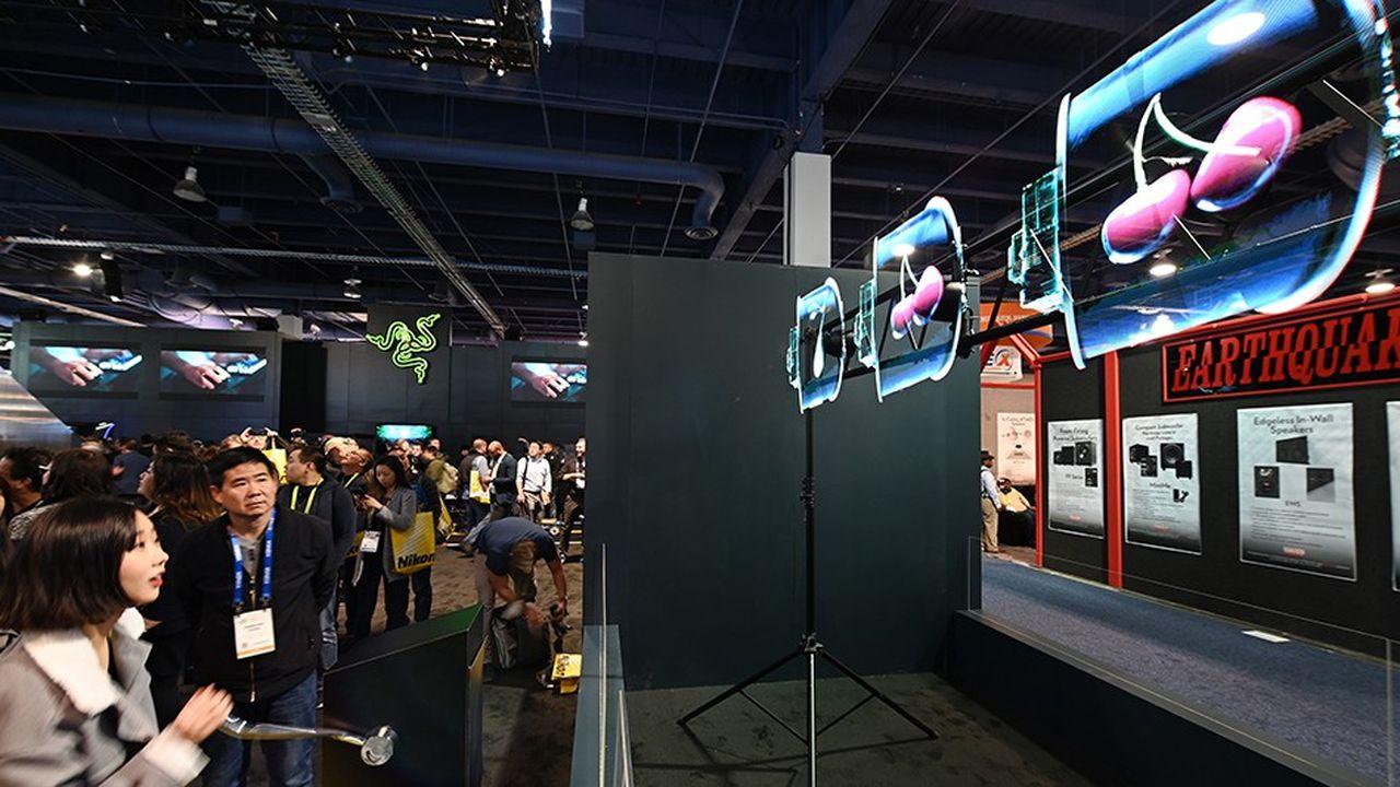 Sur le stand d'Hypervsn, la société anglaise financée par l'entrepreneur Richard Branson, au CES de Las Vegas.