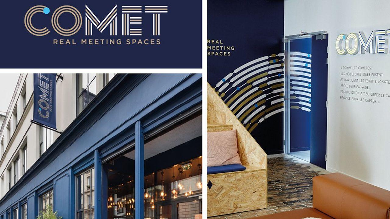 Generous Branding vient de développer le projet d'espaces de réunions professionnelles Comet Meetings , de la recherche de la marque au parcours client en passant par le mobilier.