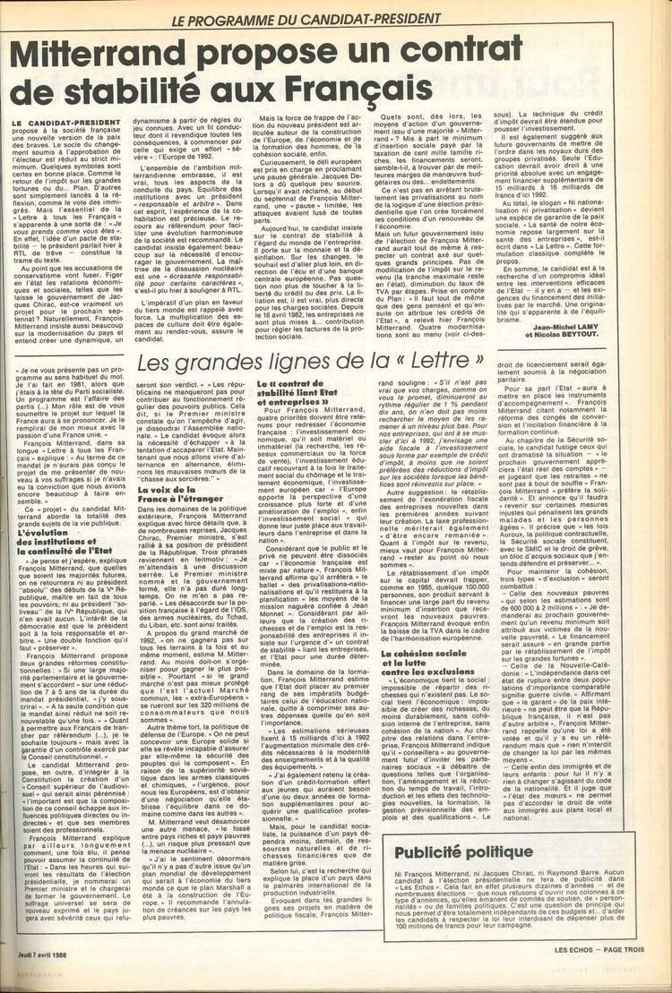 Le décryptage publié par «Les Echos» de la lettre adressée aux Français par François Mitterrand en 1988.