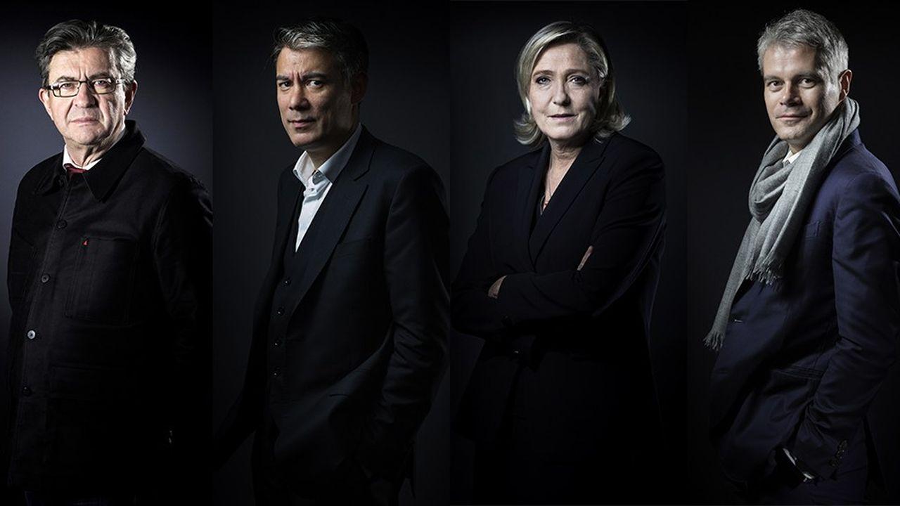 Jean-Luc Mélenchon (LFI), Olivier Faure (PS), Marine Le Pen (RN) et Laurent Wauquiez (LR).