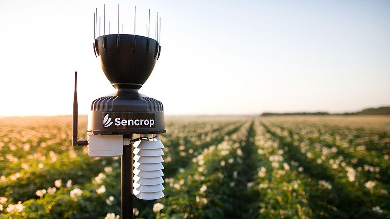 L'agrostation météo connectée de Sencrop mesure aussi le taux d'humectation de la feuille, utile pour lutter contre le mildiou chez les viticulteurs ou prévenir la tavelure chez les producteurs de pommes.