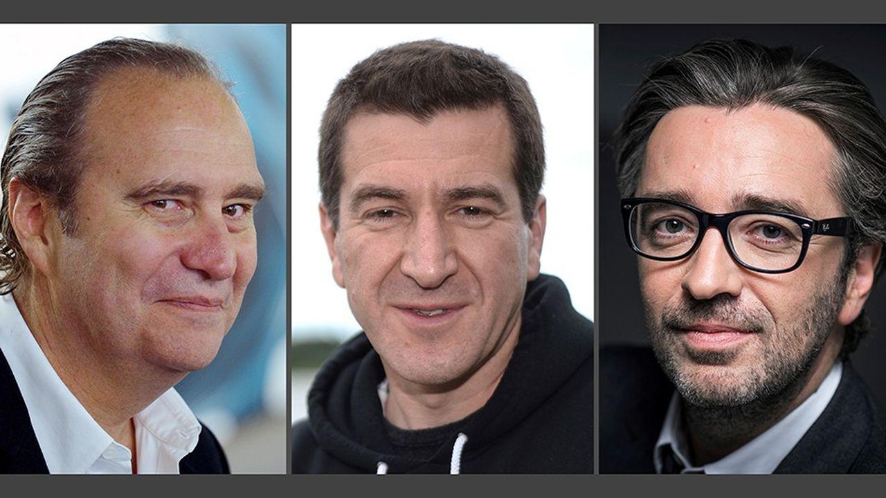 De gauche à droite: Xavier Niel, Matthieu Pigasse et Pierre-Antoine Capton.