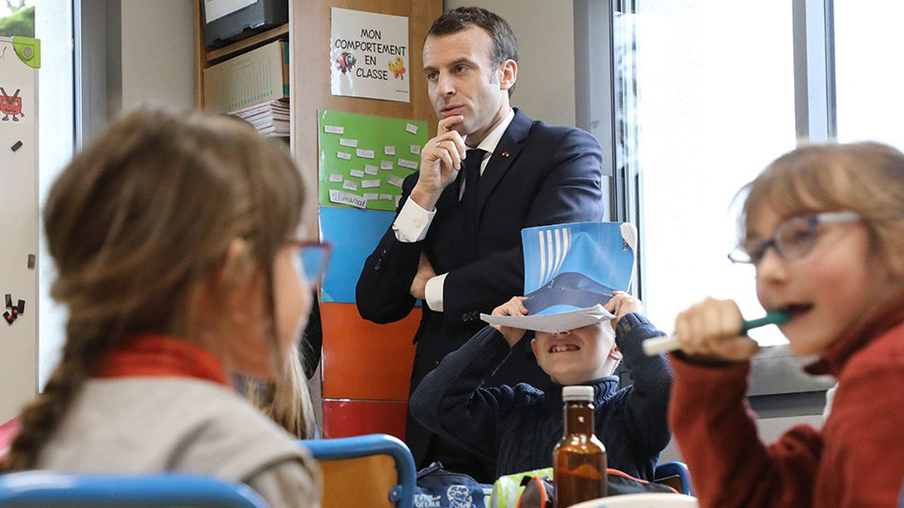 « L'école et la santé, ce sont les deux moteurs de notre investissement », a déclaré ce vendredi Emmanuel Macron en marge d'une visite dans une école du Lot, avant son deuxième déplacement pour le grand débat national à Souillac.