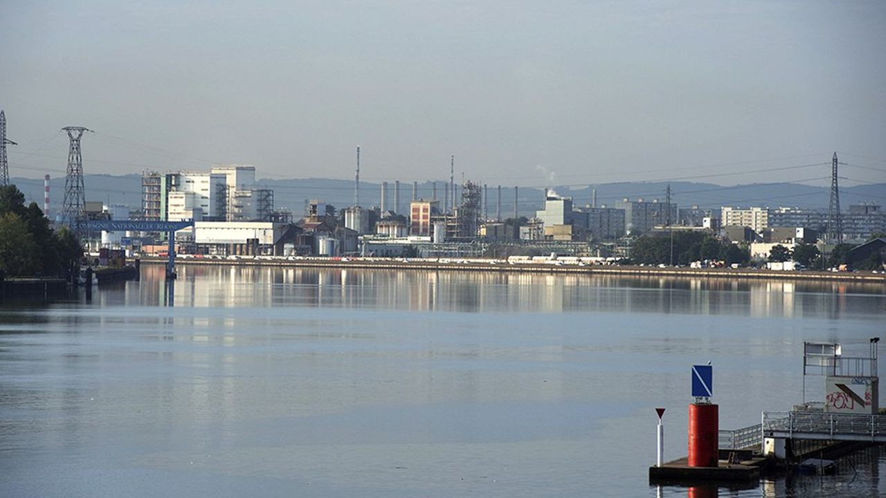 Fleuve Rhone, usine Arkema de Pierre Benite (au fond), portique de dechargement de la CNR (a gauche)