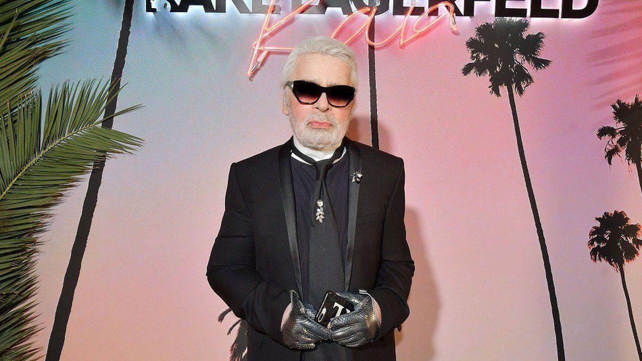 Le couturier Karl Lagerfeld lors d'un shooting photo en octobre2018