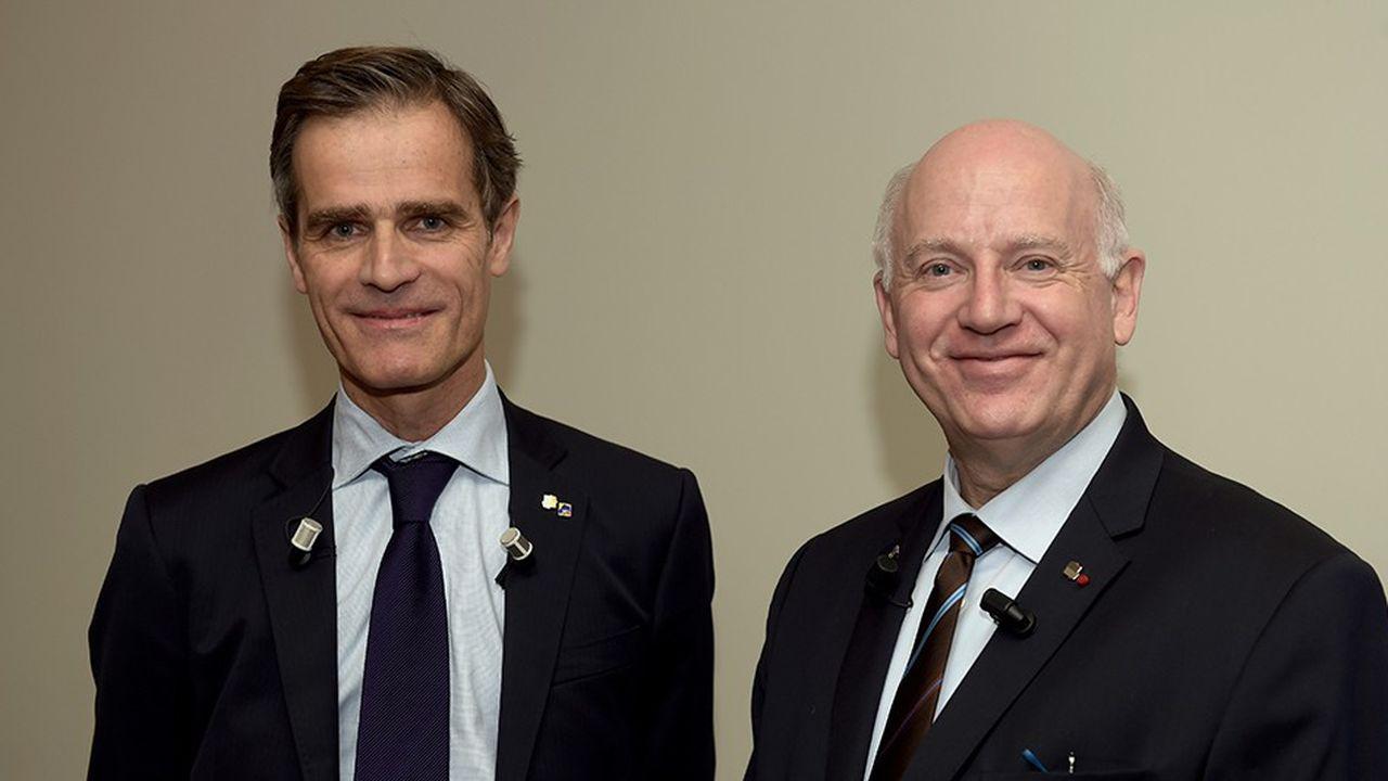 Nicolas Gomart (à gauche) et André Renaudin, respectivement directeur général délégué et directeur général d'AG2R La Mondiale Matmut.