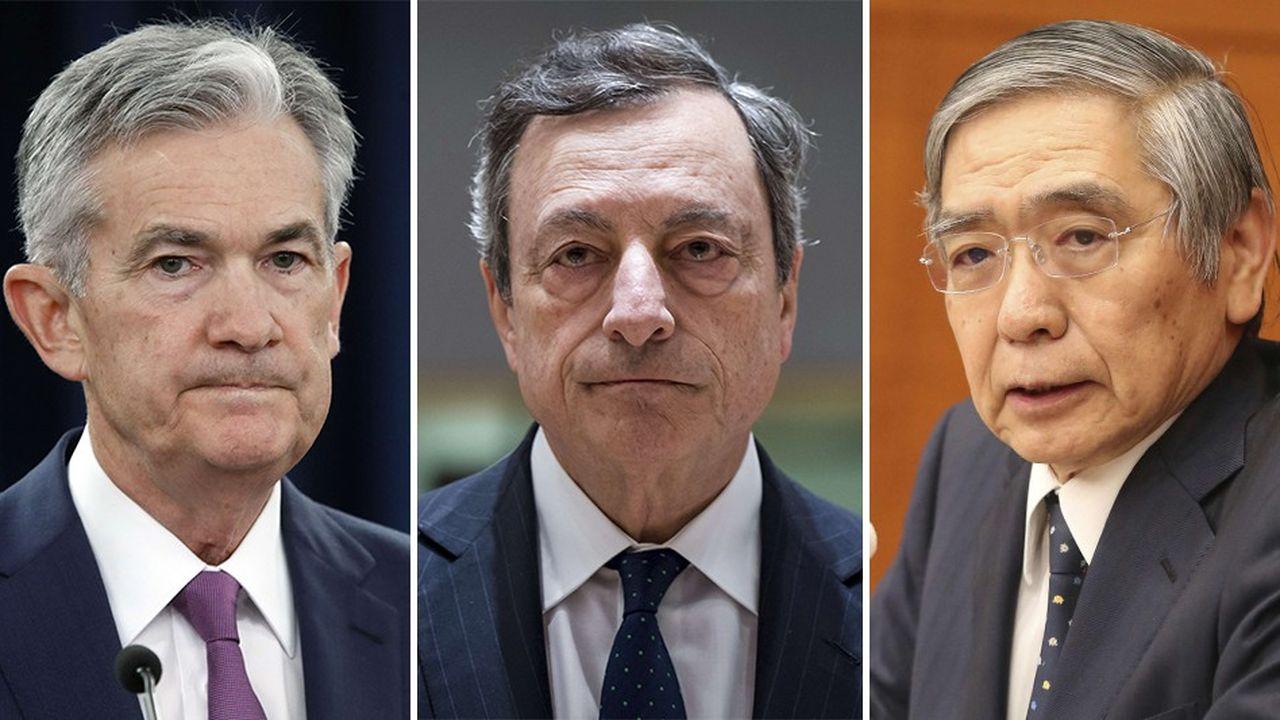 De gauche à droite :Jerome Powell (président de la Fed), Mario Draghi (président de la BCE) et Haruhiko Kuroda (président de la Banque du Japon).
