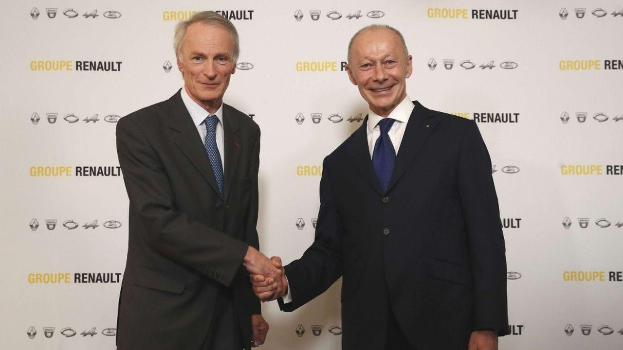 Le nouveau duo Jean-Dominique Senard (gauche) et Thierry Bolloré aura notamment pour tâche de maintenir Renault sur sa trajectoire économique