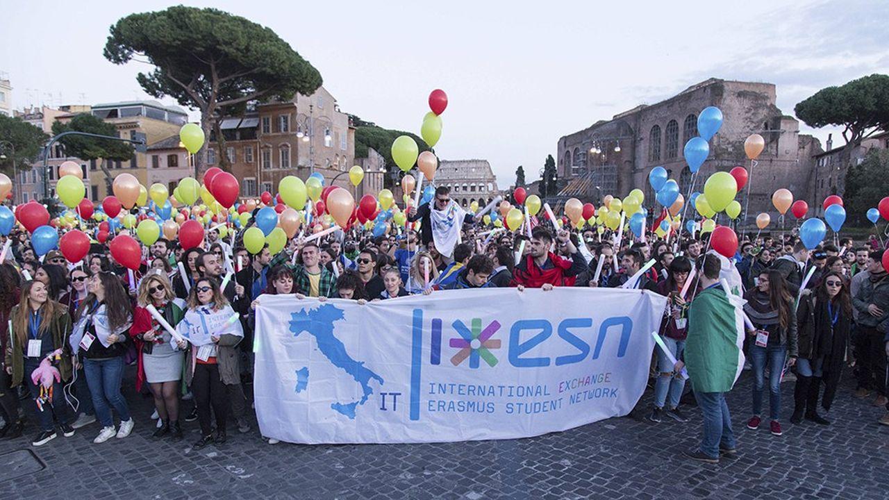 Parade des étudiants Erasmus à Rome, en novembre2018