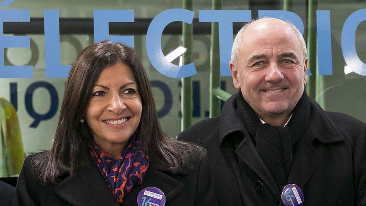 Anne Hidalgo et Jean-Louis Missika lors de l'inauguration des Ateliers Jourdan-Corentin-Issoire,