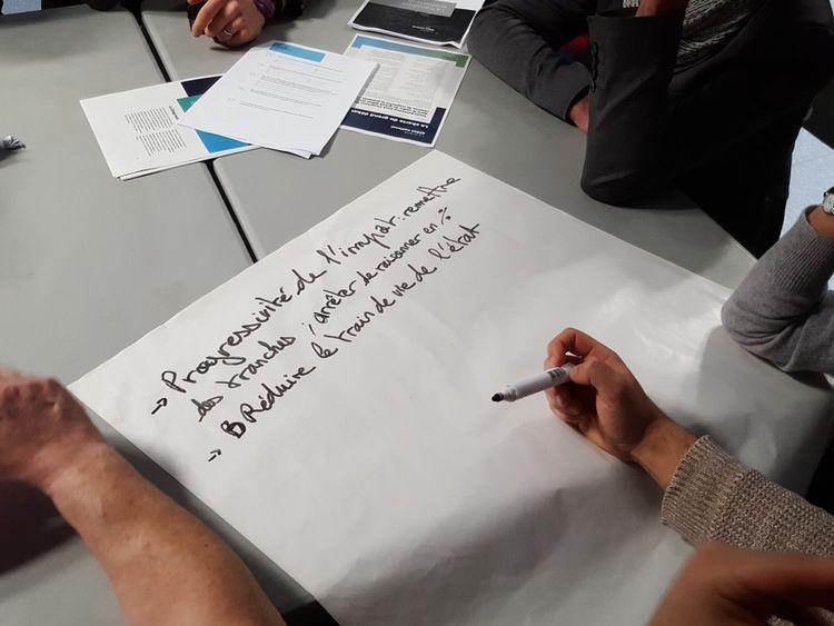 Les propositions et idées seront couchées au marqueur sur une grande feuille, complétée au fur et à mesure par les différents groupes.
