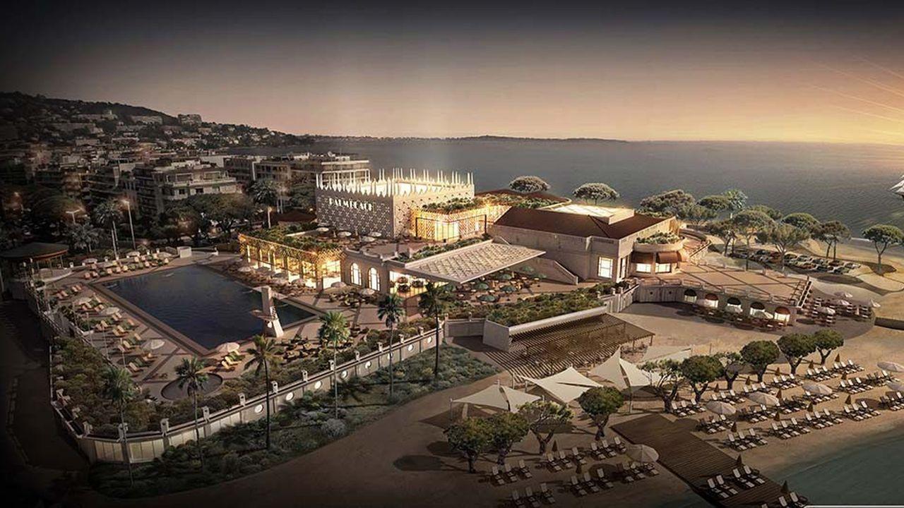 Le projet porté par la société Cannes Balnéaire prévoit notamment la création de restaurants haut de gamme et d'une boîte de nuit, ainsi que la réfection de la légendaire piscine du Palm Beach, pour un investissement autour d'une centaine de millions d'euros.