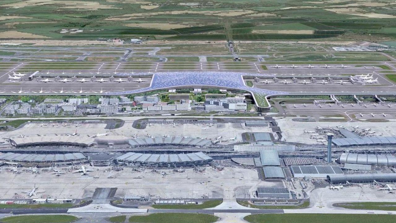 Le futur terminal 4 de Roissy-CDG, qui pourrait ressembler à cette vue d'artiste (au second plan) en 2037, va faire l'objet d'une concertation publique.