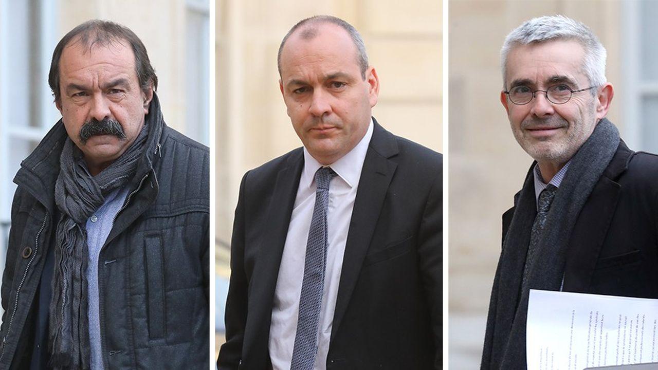 Philippe Martinez (CGT) et Laurent Berger (CFDT) ont été reçus le 7janvier par Yves Veyrier au siège de Force ouvrière pourdiscuter d'une initiative commune.