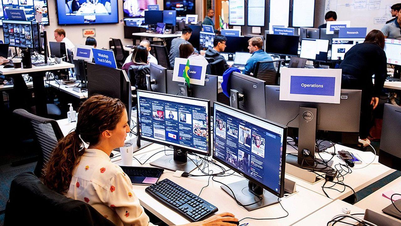 La «war room» de Facebook, au siège de Menlo Park, en Californie, a été active durant les élections américaines de mi-mandat et la présidentielle brésilienne.