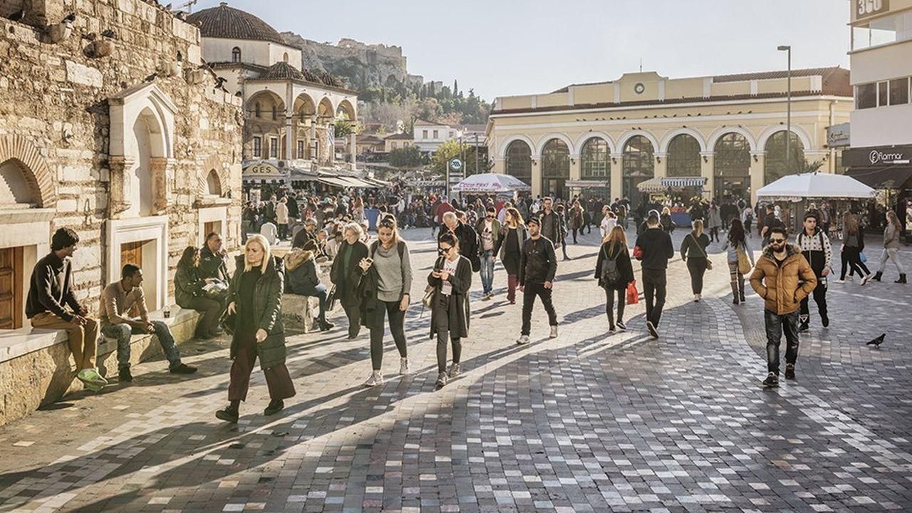 A Athènes, le quartier commerçant et touristique deMonastiraki.