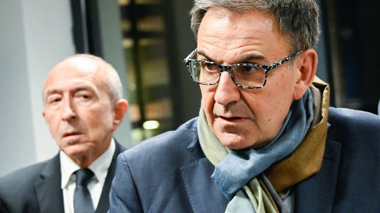 A gauche Gérard Collomb, maire de Lyon, et David Kimelfeld, président de la métropole de Lyon.