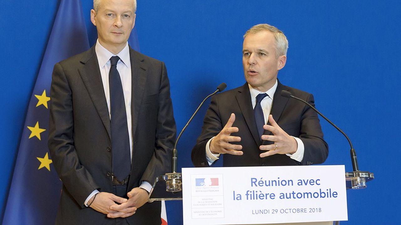 Bruno Le Maire, ministre de l'Economie, et Francois de Rugy, ministre de la Transition écologique et solidaire, s'étaient promis deparvenir à un accord avec les constructeurs automobiles d'ici à la fin novembre.